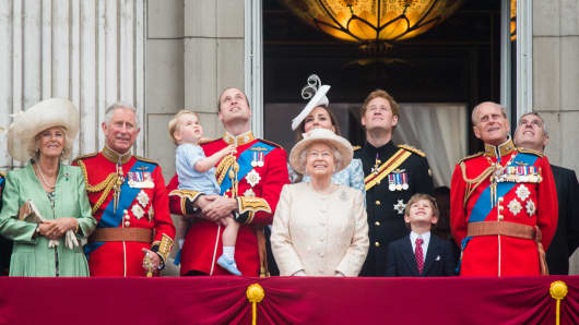 The royal family looks on during the annual Trooping The Colour ceremony on June 13, 2015, in London. (L-R) Camilla, Duchess of Cornwall; Prince Charles, Prince of Wales; Prince George of Cambridge; Prince William, Duke of Cambridge; Catherine, Duchess of Cambridge; Queen Elizabeth II; Prince Harry; Prince Philip, Duke of Edinburgh; Prince Andrew, Duke of York.